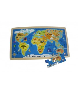 Puzzle de madera mapamundi. Medidas: 40x23 cm.