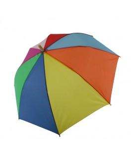Parapluie enfant arc-en-ciel multicolore avec figurine en bois sur poignée pour garçon fille