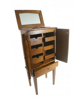 Mueble joyero alto de madera maciza estilo rustico con cajones