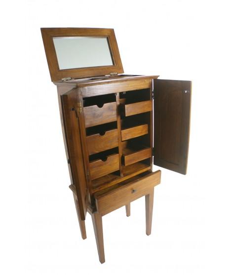 Mueble joyero alto de madera con cajones y puertas. Medidas:118x51x33 cm.