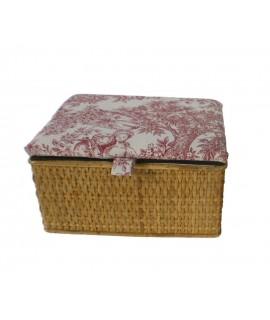 Costurero tapizado color miel. Medidas:15x26x20 cm.