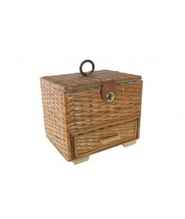 Boîte à couture en osier chamois avec tiroir et anneau. Mesures: 21x26x20 cm.