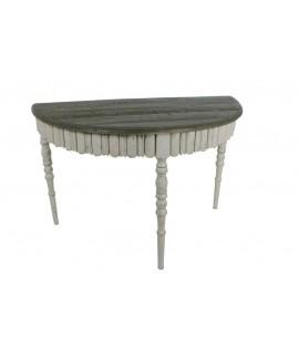 Consola de base blanca i tapa de fusta envellida. Mesures: 116x57 cm.