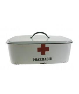 Boîte de rangement de médicaments en métal blanc de style vintage
