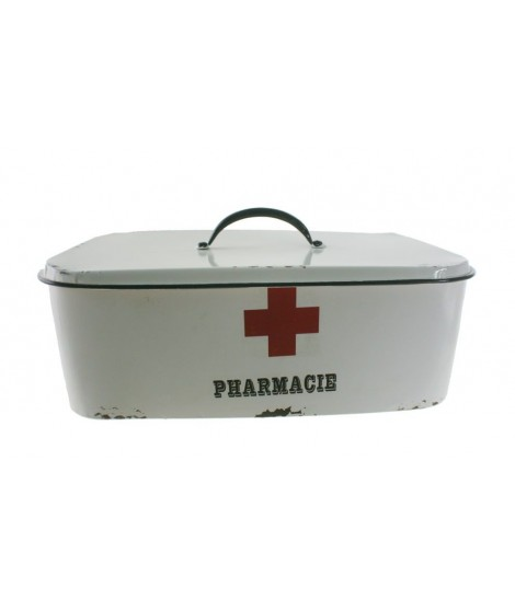 Caja guarda medicinas de metal color blanco. Medidas: 37x20 cm.
