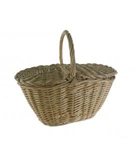 Cesta mimbre con tapa tradicional para setas cesta almacenamiento hogar