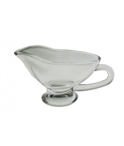 Salsera de cristal con asa. Medidas: 16x9 cm.
