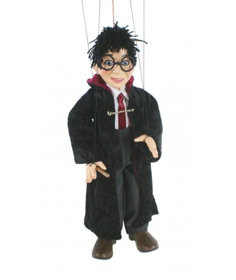 Marioneta de cuerda Harry Potter con varita mágica. Medidas: 31 cm.