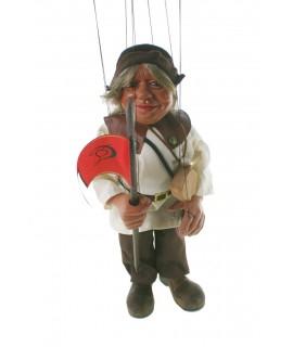Marioneta de cuerda escudero Sancho Panza. Medidas: 40 cm.