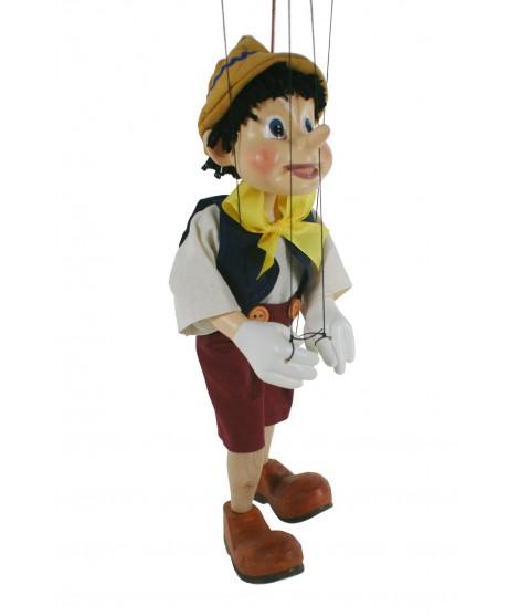 Marioneta de cuerda Pinocho. Medidas: 34 cm.