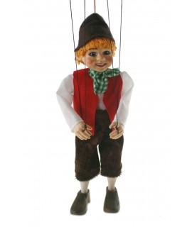 Marioneta de cuerda Hansel. Medidas: 23 cm.