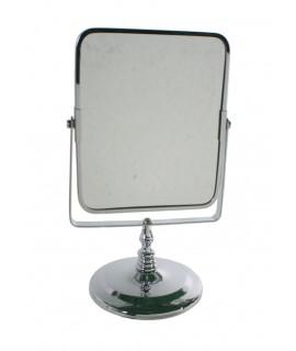 Miroir de salle de bain ou miroir de maquillage chromé. Mesures: 27x16 cm.