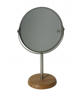Espejo de tocador o baño con pie de madera. Medidas: 31x19 cm.