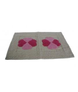 AAlfombra alfombrilla baño y ducha diseño corazones color beige y rosa