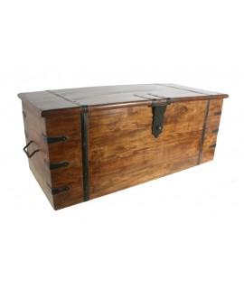 Baúl arcón cofre madera acacia almacenaje decoración hogar rustico nórdico