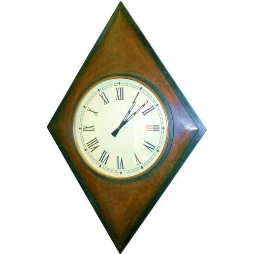 Reloj de pared grande madera forma rombo decoración rustico para el hogar