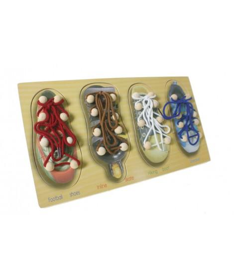 Para aprender hacer el nudo al zapato. Juego de motricidad.