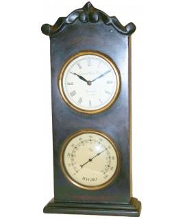 Rellotge de fusta dues esferes amb higròmetre. Mesures: 36x17 cm.