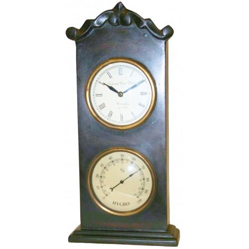 Reloj de madera dos esferas con higrómetro decoración rustica hogar
